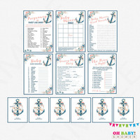 Nautical Baby Shower Games Bundle, games pack, baby shower game pack, printable baby shower games girl boy sign INSTANT DOWNLOAD NA0L
