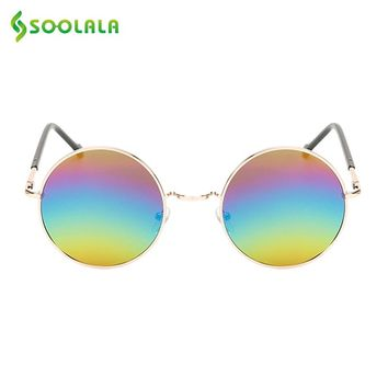 SOOLALA Unisex Round Circle Mirror Sunglasses Women Men Retro Alloy Rainbow Lens Fashion Brand Designer Sunglasses Eyewear