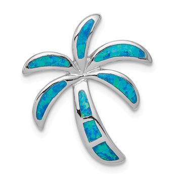 925 Sterling Silver Rhodium Created Blue Opal Palm Tree Slide Pendant