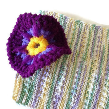 Crochet Flower Dish Scrubby/Knit Dishcloth Gift Set - 1 Crocheted Nylon Scrubby Pansy & 1 Cotton Hand-Knit Dishcloth - Gift for Her