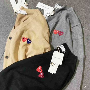 Comme Des Garcons Play Hot Sale Men Women Couple Long Sleeve Tee Shirt sweater Coat I-A-XYCL One-nice™
