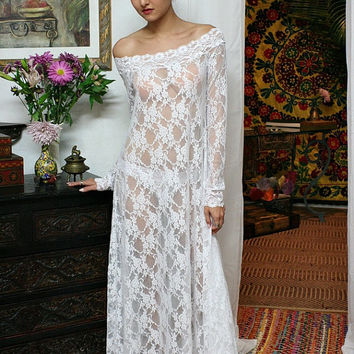 White Lace Off Shoulder Bridal Nightgown Wedding Lingerie Sarafina Dreams 2014