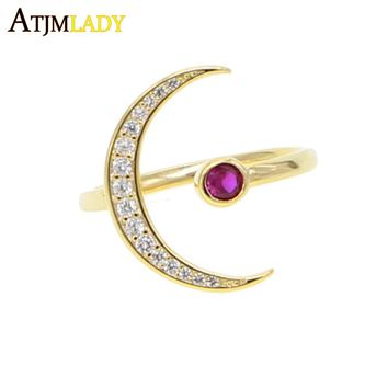 high quality Adjust ring Crescent Moon & round Red Dazzling CZ Open Finger Ring for Women Wedding Engagement Jewelry Gift
