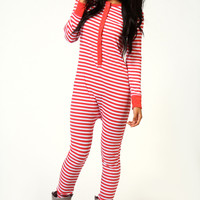 Jayne Ribbed Striped Button Front Onesuit