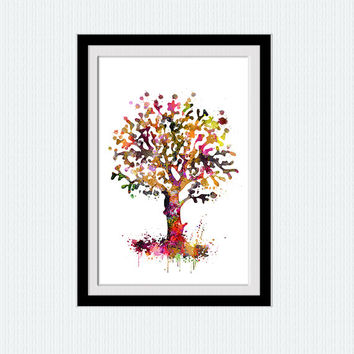Tree print Autumn watercolor tree poster Tree colorful illustration Home decoration Wall hanging art Wall art for gift Kids room art  W236