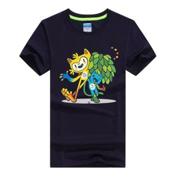 Rio 2016 Olympic Games Round Neck T-Shirt Mascot-Medium Dark Blue
