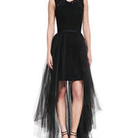Sleeveless High-Low Tulle Skirt Gown, Black
