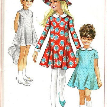 Retro 60s Girls Dress Simplicity Sewing Pattern Peter Pan Collar Princess A-line Dress Flared Skirt Playsuit Bonnet Sun Hat Size 7