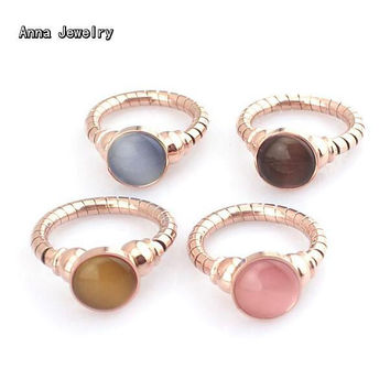 New Fashion Colorful Opal Stones Ring,Precision Stainless Steel with 1cm Round Opal Stones,Vintage Natural Opal Rings For Women