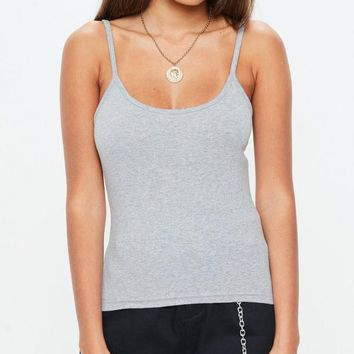 Missguided - Gray Strappy Cami Top