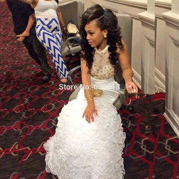 Ivory Gold and White Mermaid Prom Dresses Sexy Prom Dresses 2016 Formal Evening Gowns Dresses Long
