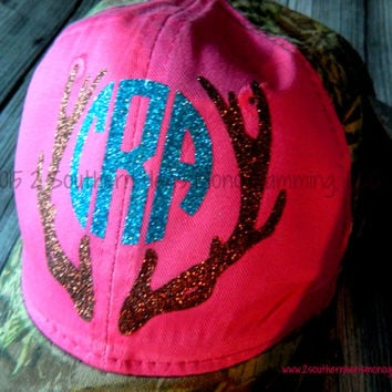 Ladies Camo Frayed GLITTER Deer Monogram Hat  Super Quality and Super Cute Deer Antlers with your Monogram