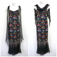 Vintage 70s HOLLY HARP Black Chiffon Embroidery Beaded Evening Flapper dress