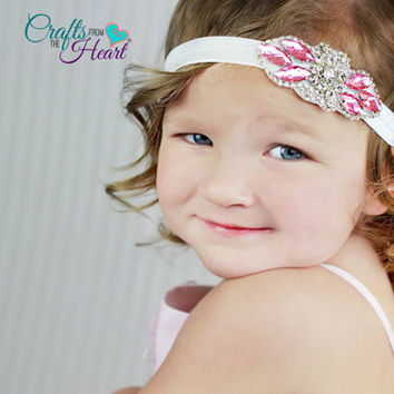 Rhinestone Headband - Flower Girl Headband - Wedding Headband - Bridal Headband - Pink Rhinestone - Adult Headband - Child Headband