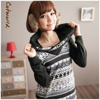 Leisure Geometry Pattern Top Jacket Hooded Design Slim Tees Gray-Wholesale Women Fashion From Icanfashion.com