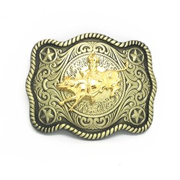 Western cowboy belt buckle retro bronze gold accessories perfect man classic animal belt buckle suitable for 4.0 belt