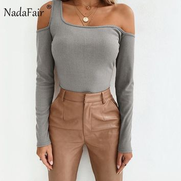 Nadafair Off Shoulder Backless Long Sleeve T Shirt Women Autumn Winter Cotton Casual Basic Tops Sexy Club Party Wrap Tshirt