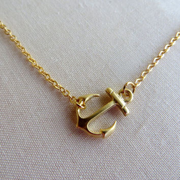 Gold Sideways Anchor Necklace. Anchor Necklace. Nautical Necklace. Gold Filled Chain.