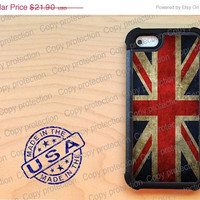 SALE British Flag Union Jack iPhone 5 case with extra protection-  iPhone 5 hard case, 2 piece rubber lining case