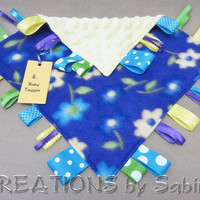 Baby Tag Blanket Toy, Taggie, Sensory, Security Blanket, Ribbons, Purple Blue Yellow Green, Flowers Floral, READY TO SHIP 160