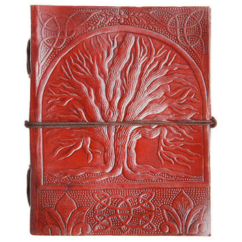 Leather Journal Diary Tree of Life | Handmade Leather Journal with Lock and Embossed with Tree of Life Pattern | Travel journal Rustic Diary
