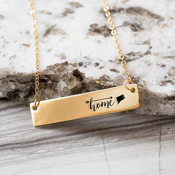 Home is Connecticut Gold / Silver Bar Necklace