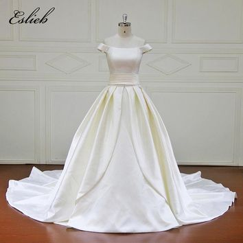 Sweet Pure Princess Boat Neck A Line Wedding Dress Sashes Bow Court Tail Draped Simple Design Bridal Gown High-end Gown