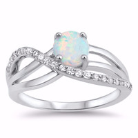 Sterling Silver CZ Lab White Opal Simulated Diamond Overlap Round Center Ring