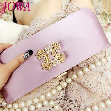 2017 New Design Women's Evening Bags Socialite Diamonds Pearl Handbag Wedding Party Bride Package Small Silk Night Purse 2 Color