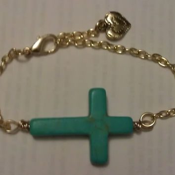 Turquoise Stone Cross Bracelet by allthingswildandfree on Etsy