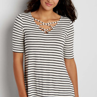 the 24/7 striped swing tee with strappy v-neckline | maurices