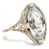 Evocative Caress: Art Deco Aquamarine Ring - The Three Graces