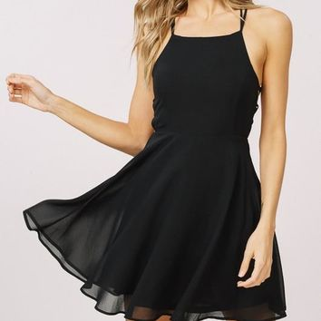 Midnight Strappy Party Dress - Black