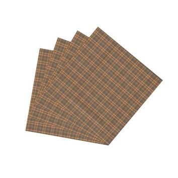 Golden Brown Plaid Napkin Set of 4
