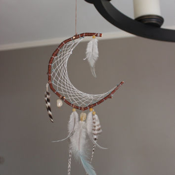 Crescent Moon yellow stone Dreamcatcher