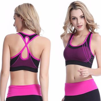 Women Quick Dry Sports Bra Cross Back Hollow Push Up Padded Crop Tops