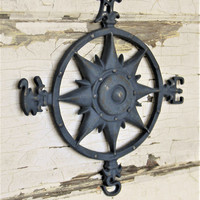 Wall Compass,Cast Iron Wall Compass,Nautical Wall Decor,Beach House Decor,Rose Compass,Compass Rose,Nautical Compass,Nautical Decor