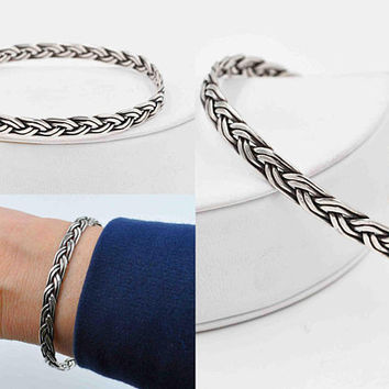 Vintage Mexico Sterling Silver Bangle Bracelet, Woven, Braided, Textured, Signed, 16 Grams, Heavy, Stacking, Super Nice! #c435