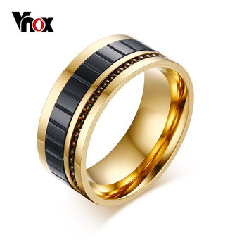 Vnox Men's Ring Gold Plated 10MM Wide Fashion Titanium Steel Rings for Men Jewelry Beaded Insert Rings