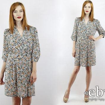 Vintage 80s Floral Deep V Secretary Dress L XL Semi Sheer Dress Floral Dress Day Dress Work Dress L Dress XL Dress Summer Dress