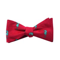 Seahorse Bow Tie - Coral Pink, Woven Silk