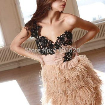 New Arrival Glamours Sexy Open Back Short Lace Feather Cocktail Dress Women Free Shipping