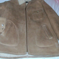 Ralph Lauren Suede and Sheepskin Zip Jacket Coat Unisex Teen/Adult