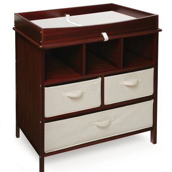 Badger Basket Estate Changing Table with 3 Baskets (Cherry)