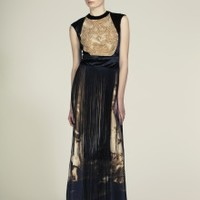 Embellished and Fringed Printed Gown | NOT JUST A LABEL