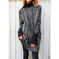Women Multicolor Turtleneck Long Sleeve Pullover Knitwear Sweater Tops