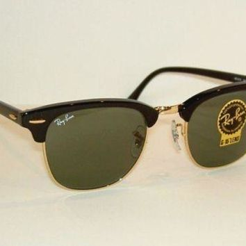 Kalete New RAY BAN Sunglasses Black CLUBMASTER RB 3016 W0365 G-15 Glass Lenses 51mm