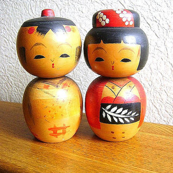 Japanese Kokeshi Doll Vintage Cute Couple by VintageFromJapan