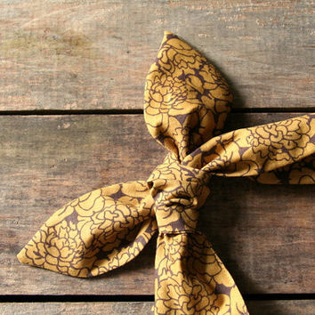 gold and brown floral headscarf  / tie up headband / adjustable / summer fall / knotted headband