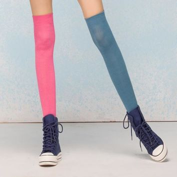 New Candy Color Quality Stockings Combed Cotton Over Thigh High Socks